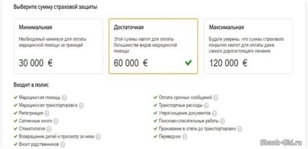 Стоимость страхования для выезда за границу от Сбербанка